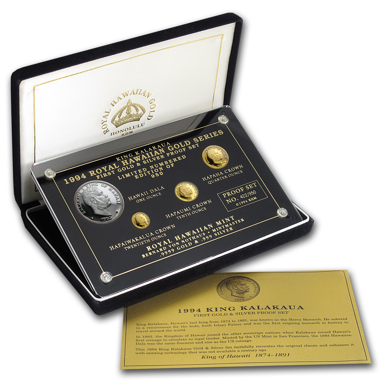 1994 4-Piece Hawaiian Gold & Silver Proof Set (w/Box & COA)