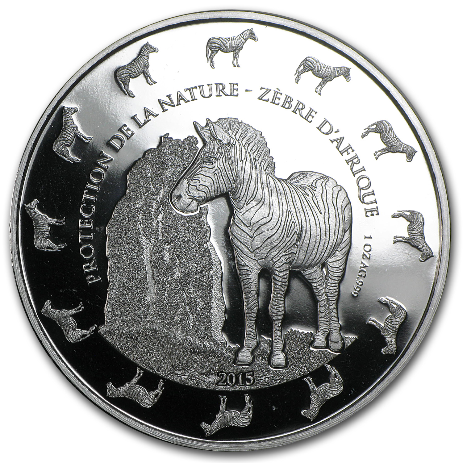 2015 Benin 1 oz Silver Protection de la Nature Zebra