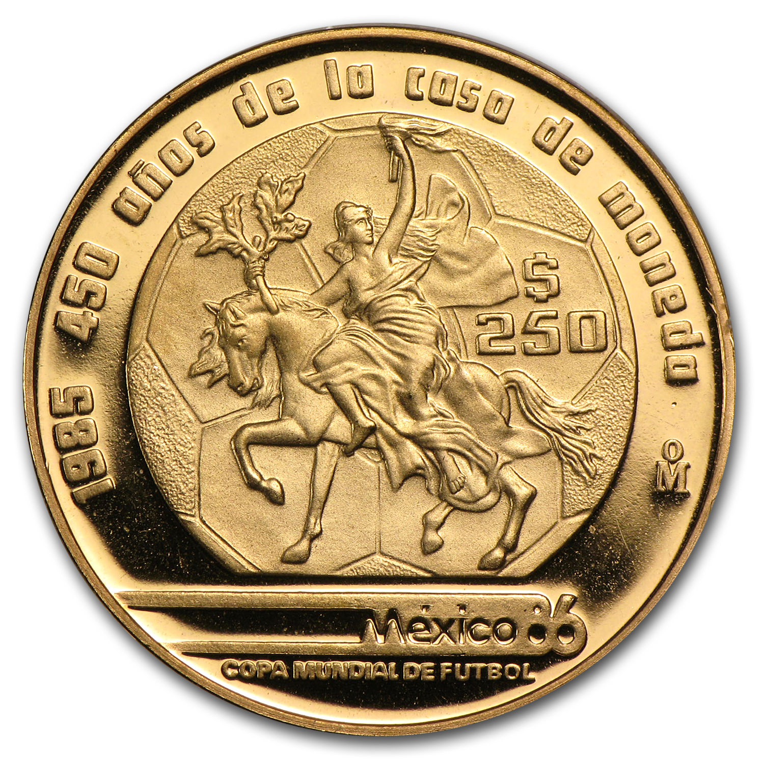 1985 Mexico Gold 250 Pesos (Proof)