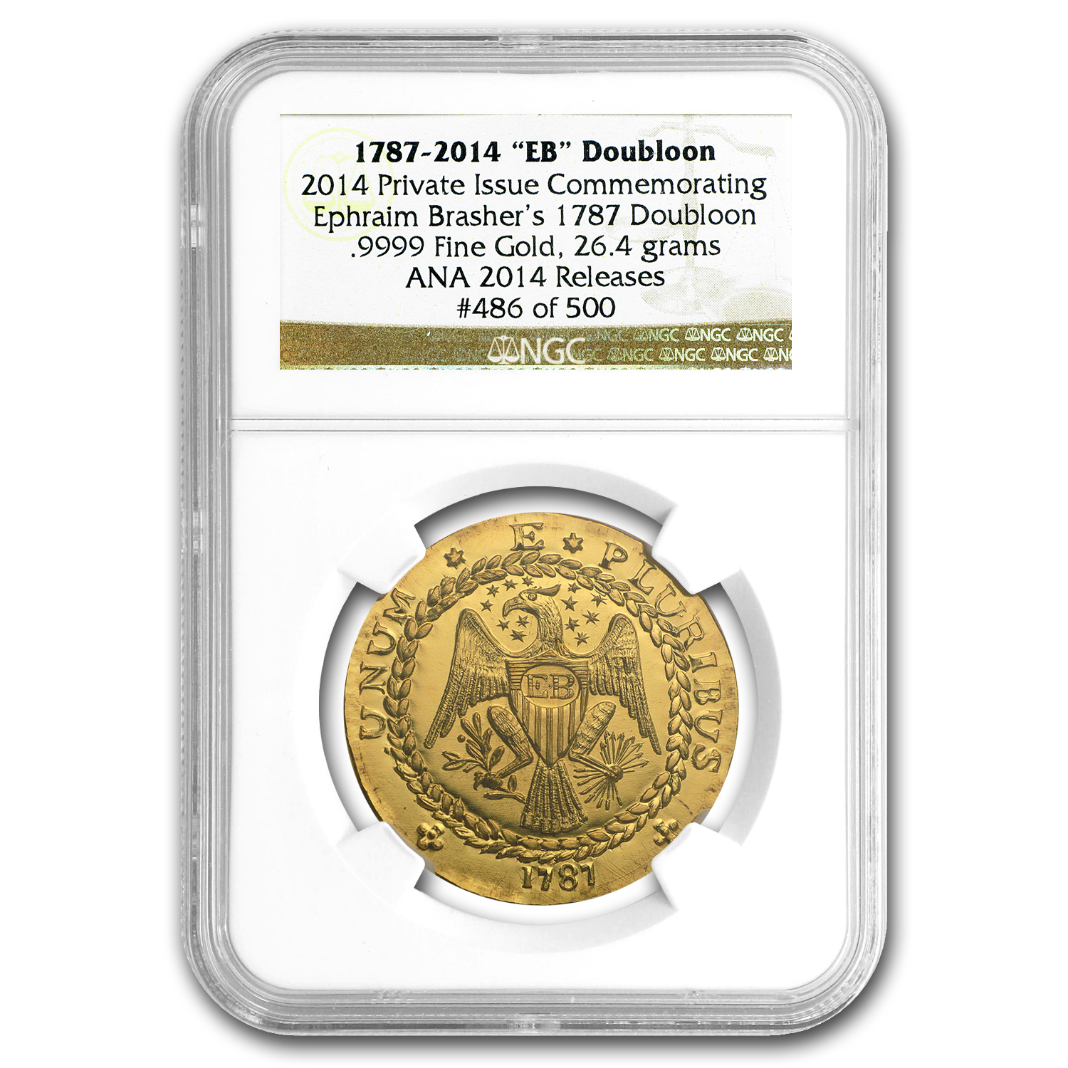 "1787-2014 ""EB"" Brasher Doubloon Commemorative (NGC, .9999 Fine)"