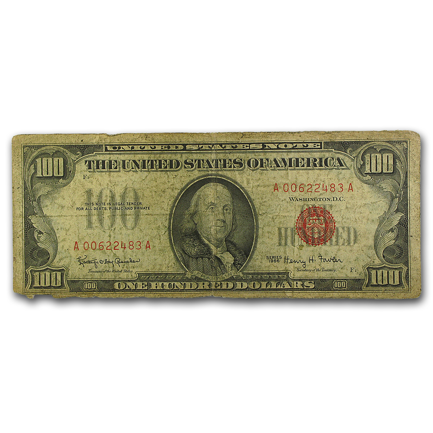 1966 $100 U.S. Note Red Seal G/VG