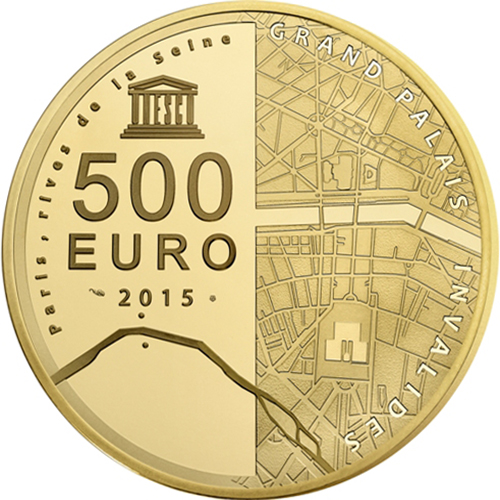 2015 5 oz Proof Gold €500 The Invalides & Grand Palais