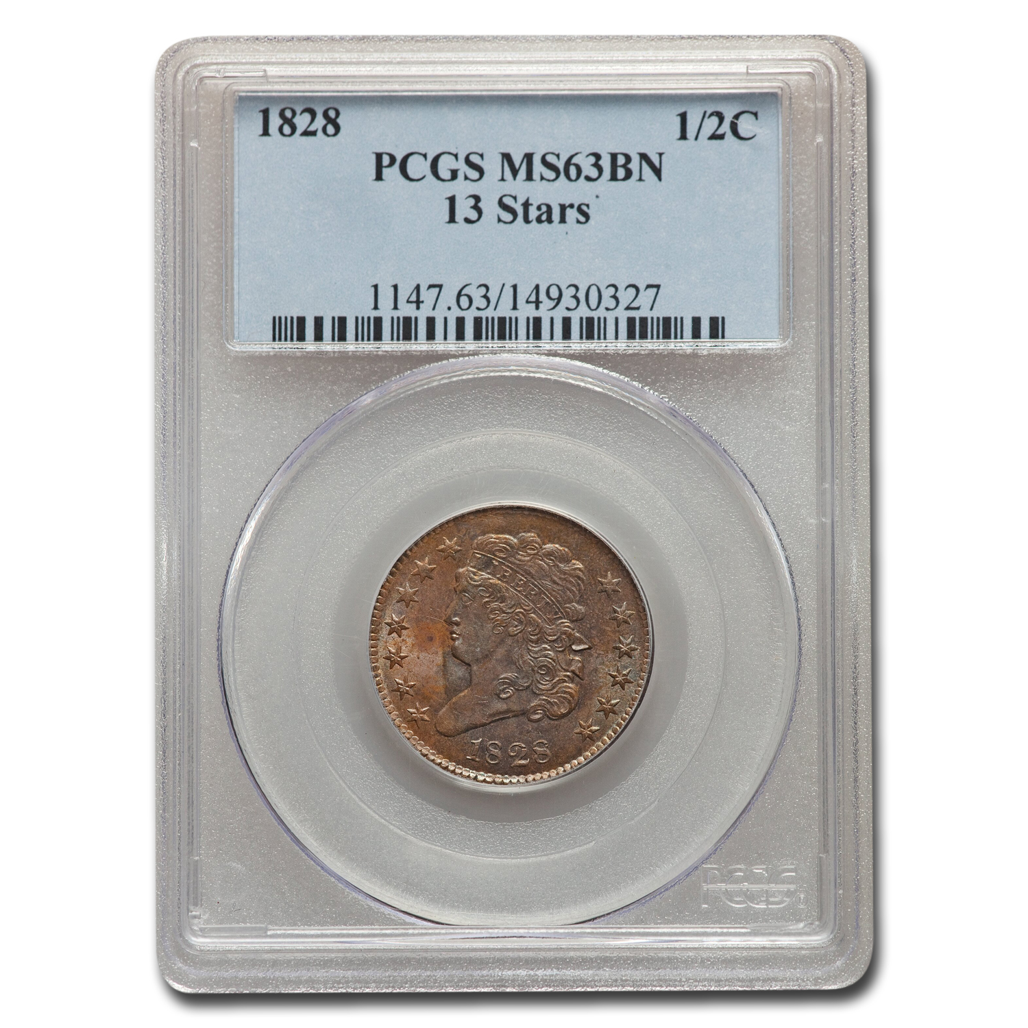 1828 Half Cent 13 Stars MS-63 PCGS (Brown)