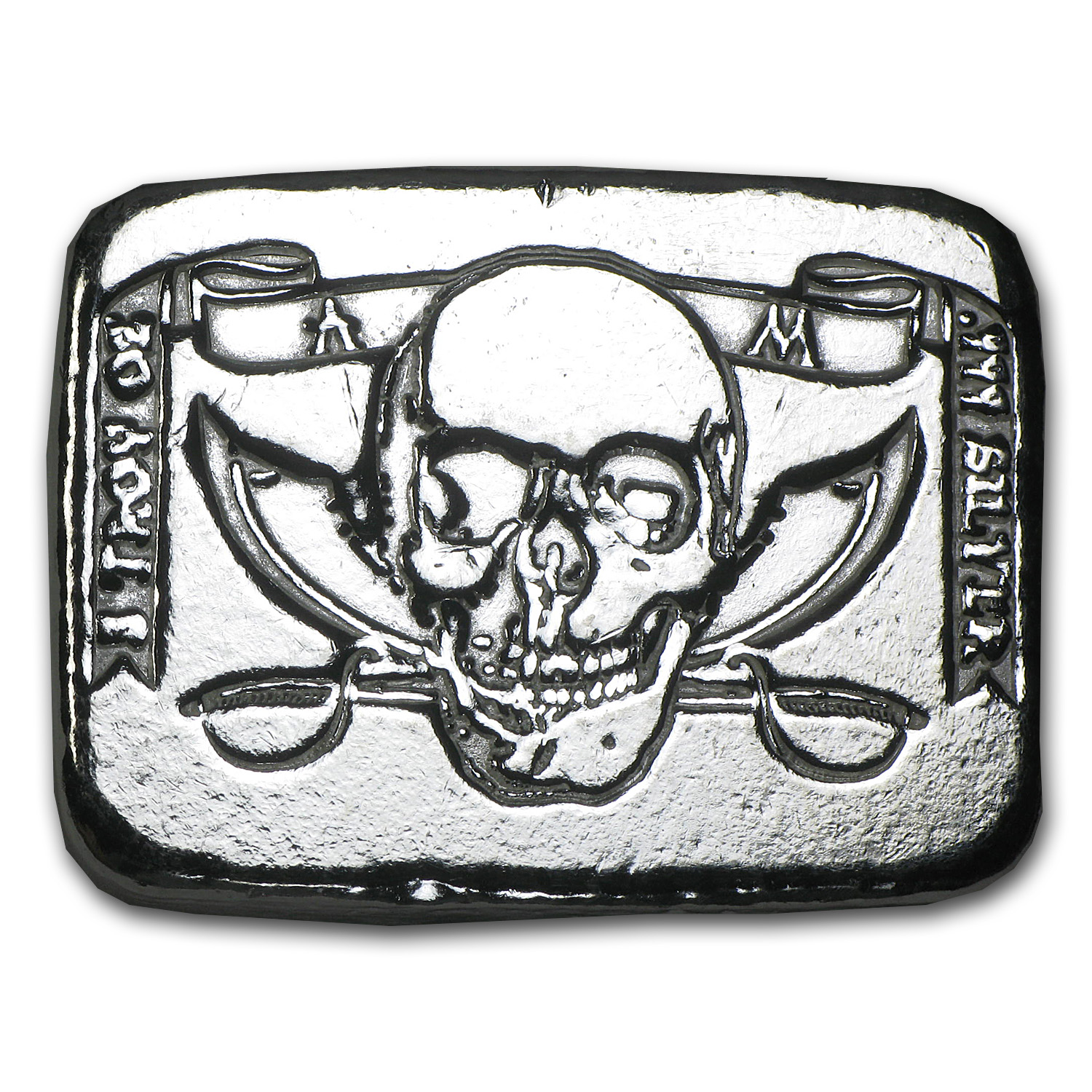 5 oz Silver Bar - Atlantis Mint (Pirate Skull & Crossed Swords)