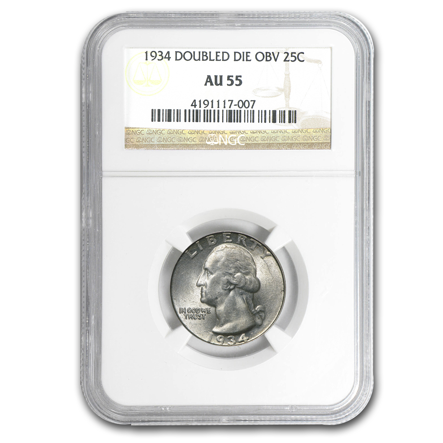 1934 Washington Quarter AU-55 NGC Doubled Die Obverse