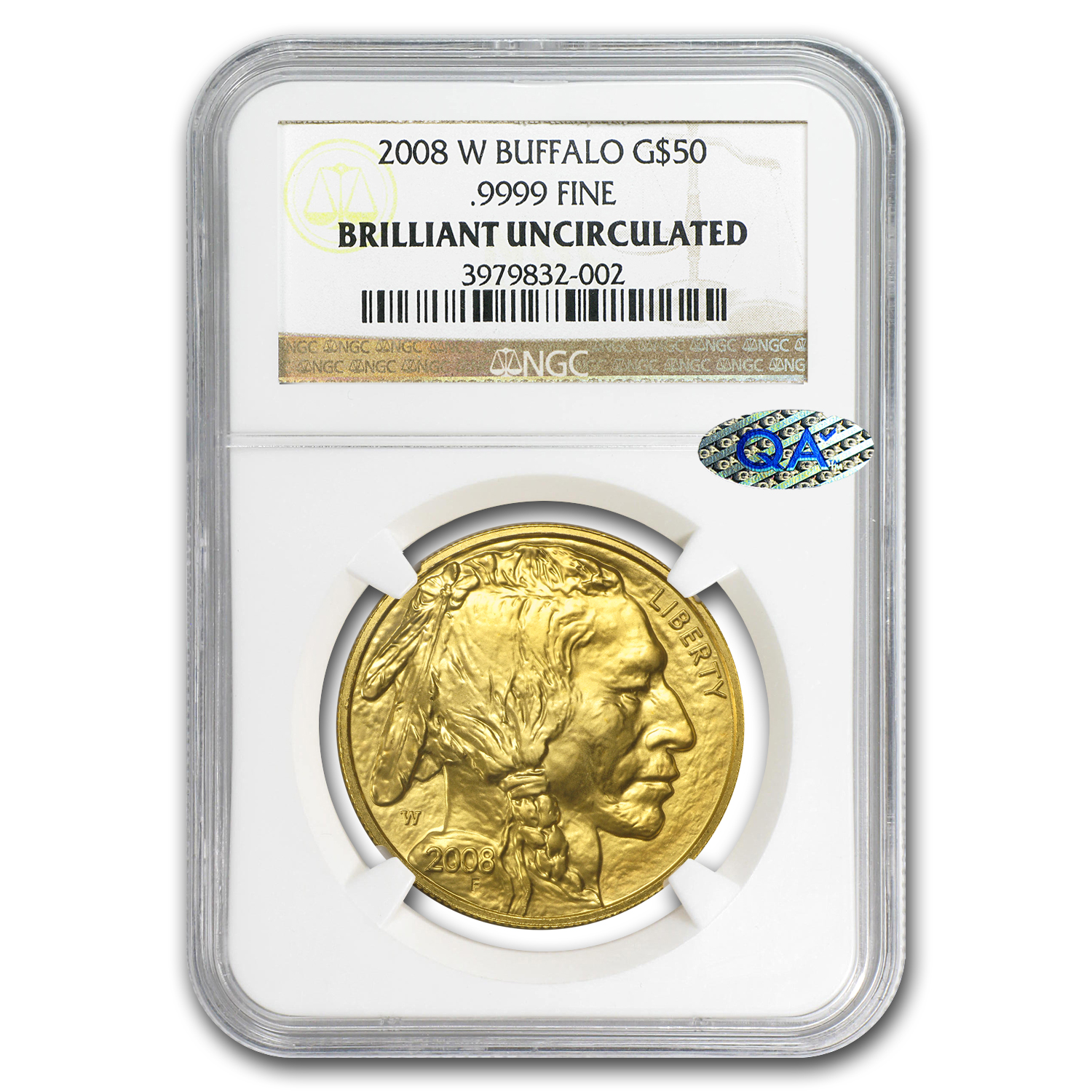 "2008-W 1 oz Gold Buffalo Brilliant Uncirculated NGC ""QA Check"""