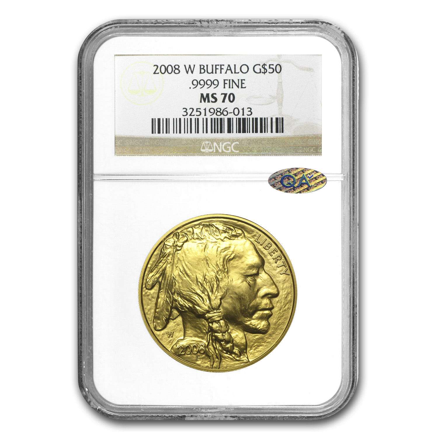 2008-W 1 oz Gold Buffalo MS-70 NGC (QA Check)