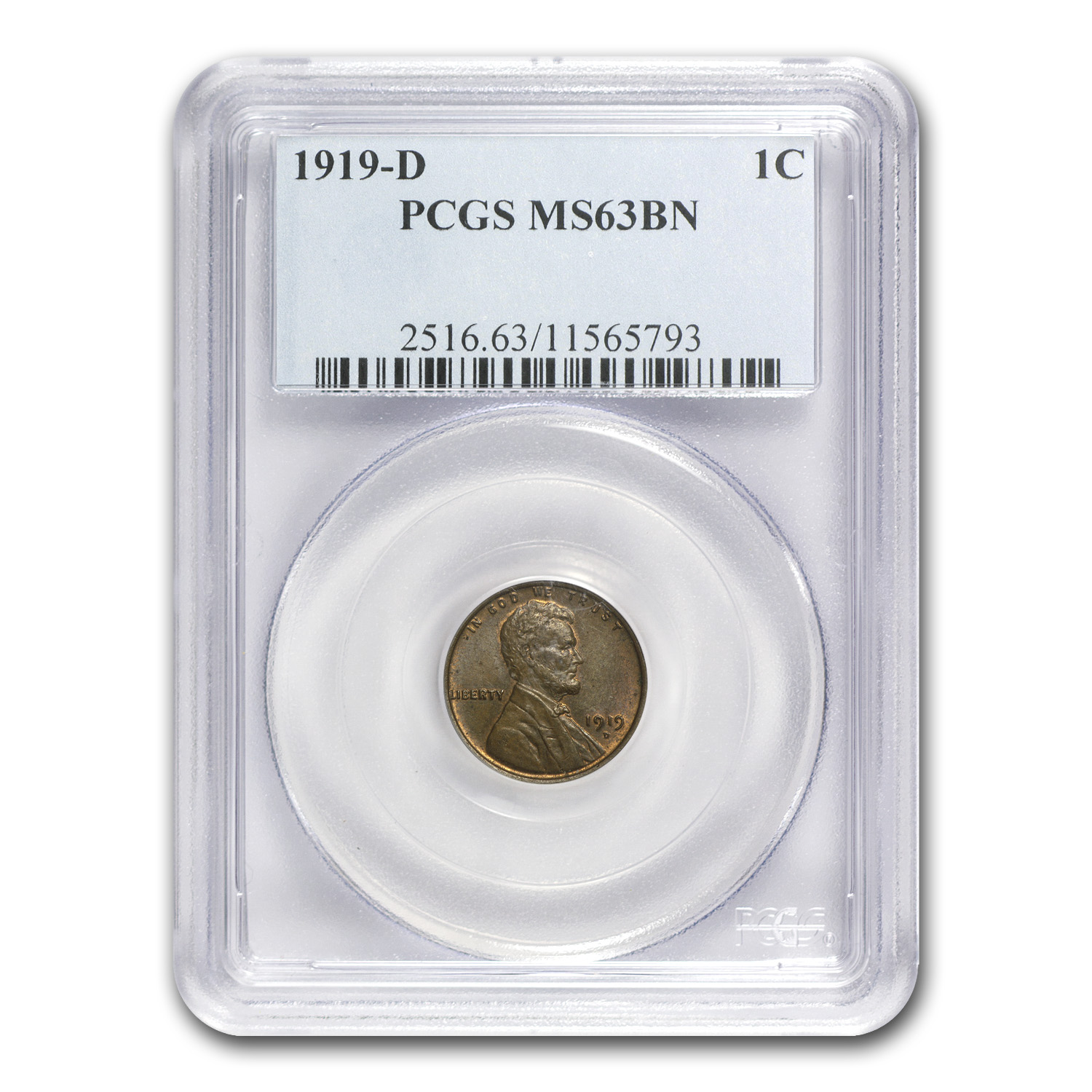 1919-D Lincoln Cent MS-63 PCGS (Brown)