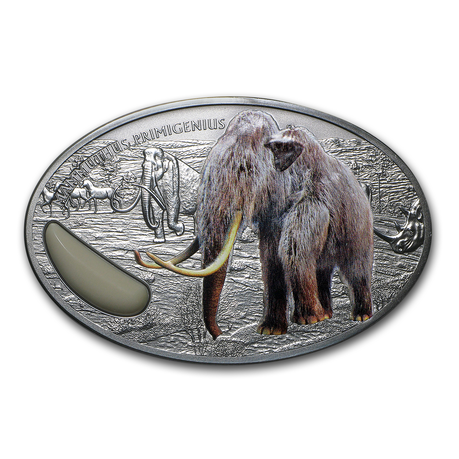 2015 Niger 2 oz Silver 1500 Francs Wooly Mammoth Coin