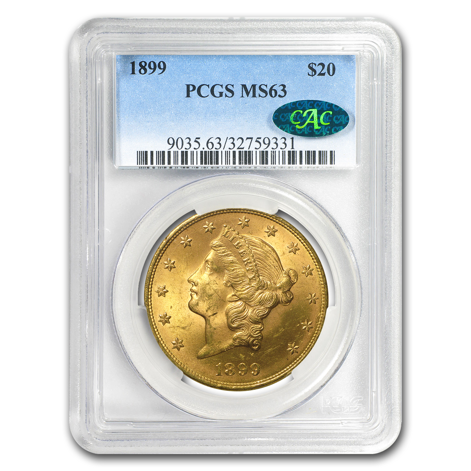 1899 $20 Liberty Gold Double Eagle MS-63 PCGS CAC