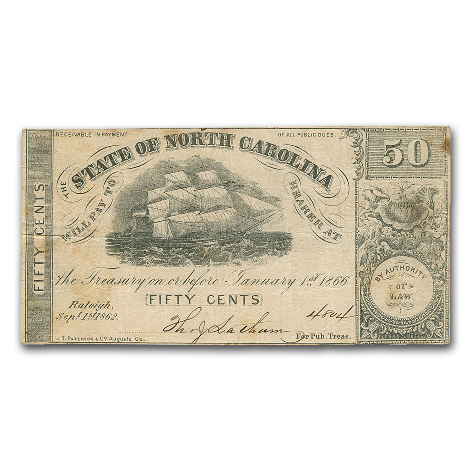 1862 The State of North Carolina 50 Cents VF (Cr #92)
