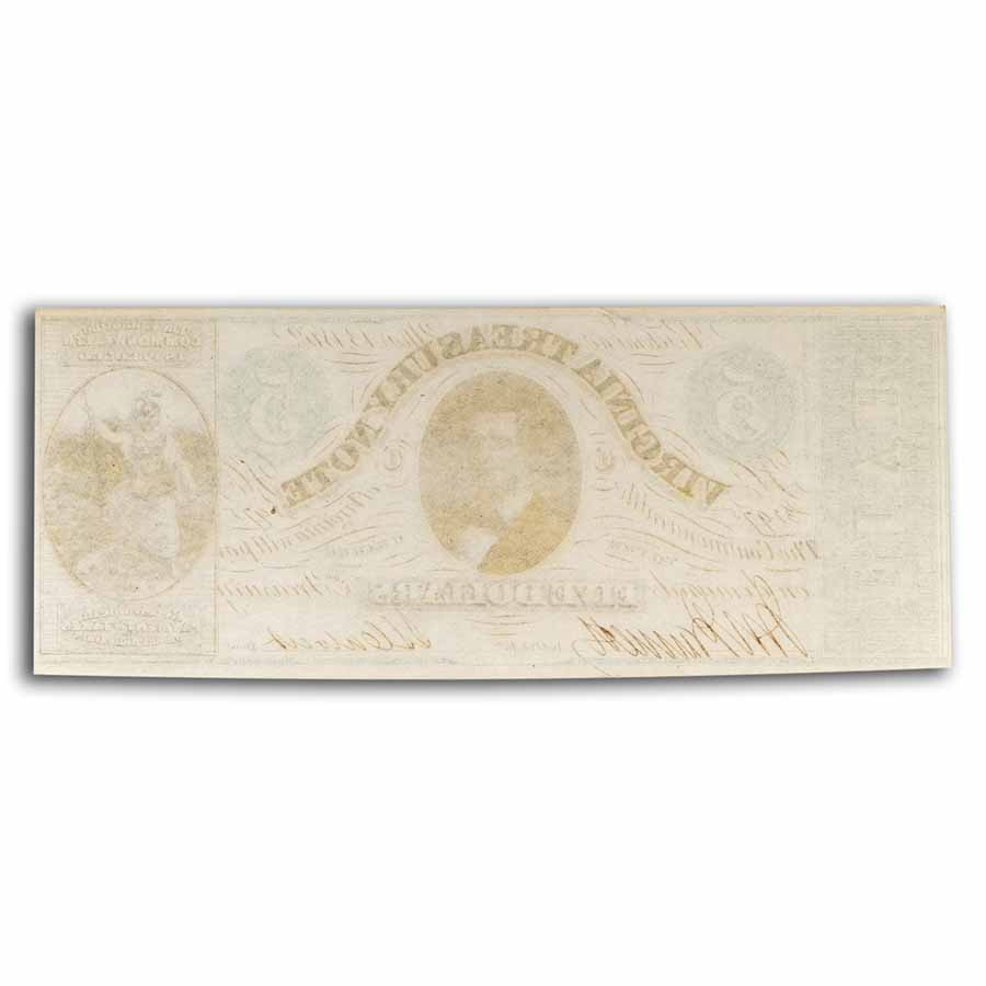 1862 Virginia Treasury Note $5.00 CR #-13 CU