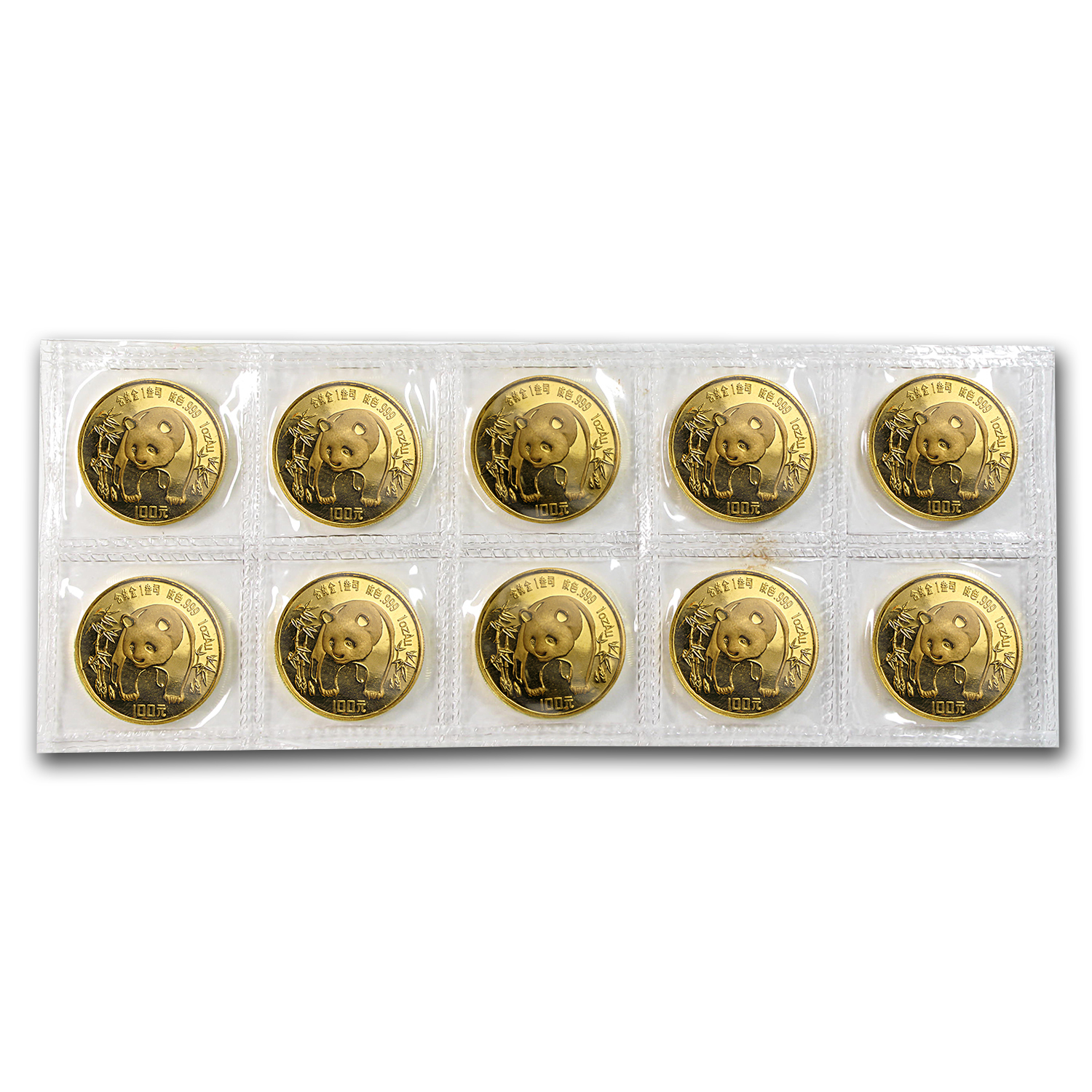 1986 China 1 oz Gold Panda BU (Sealed Sheet of 10)