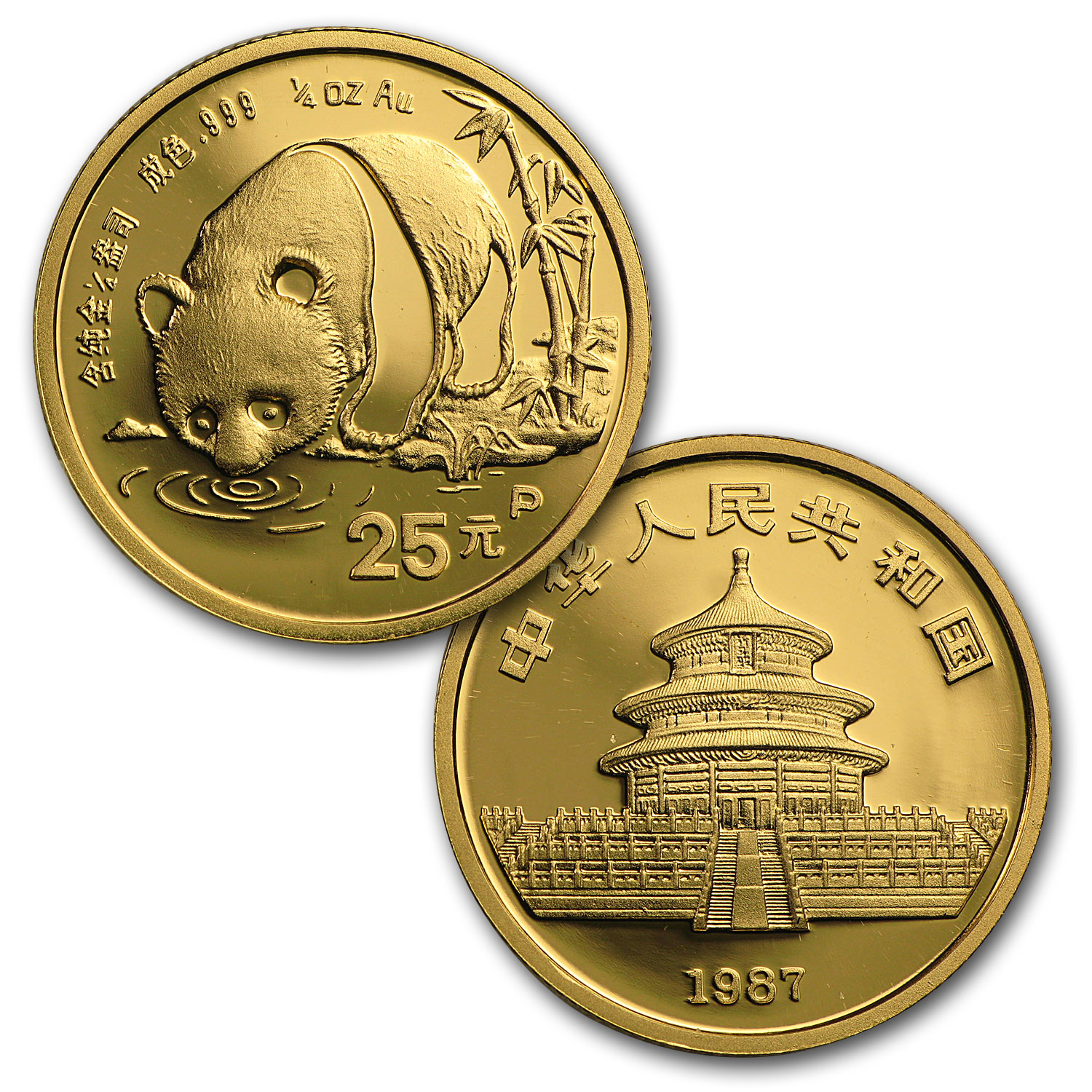 1987 (5 Coin PROOF) Gold Chinese Panda Set - (In Original Box)