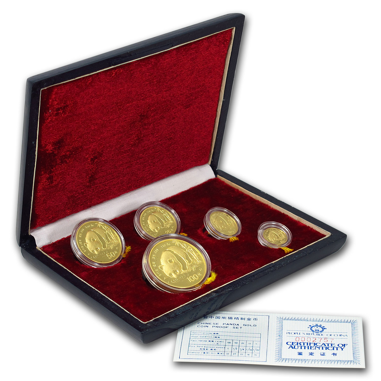 1987 China 5-Coin Gold Panda Proof Set (In Original Box)