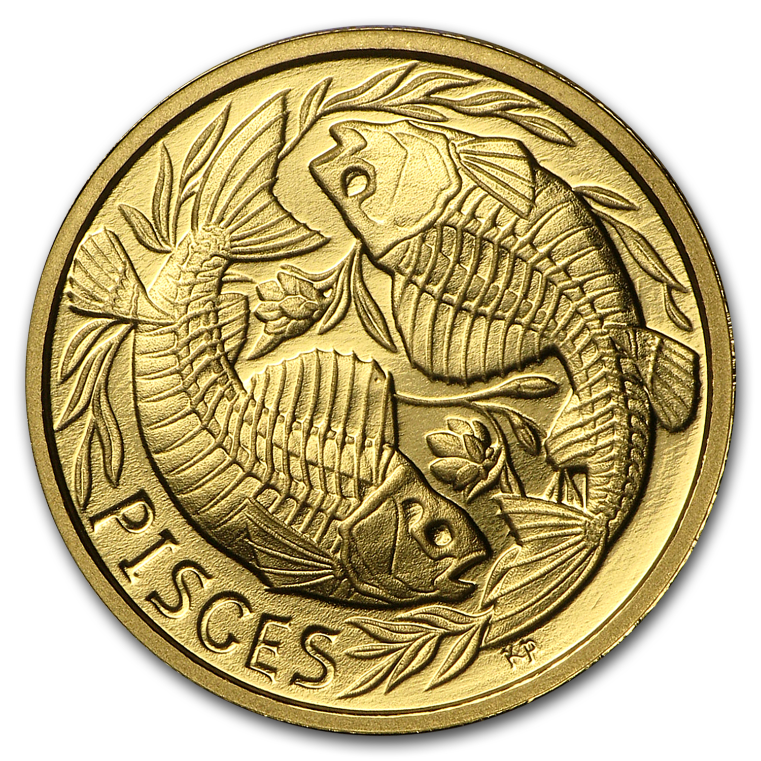 1/10 oz Gold Proof Round - Zodiac Skull Series (Pisces)