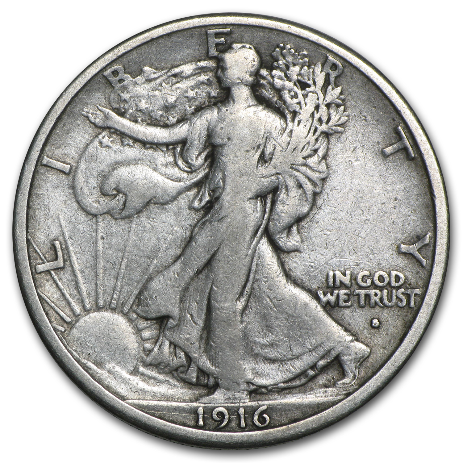 1916 S Walking Liberty Half Dollar Vf Walking Liberty