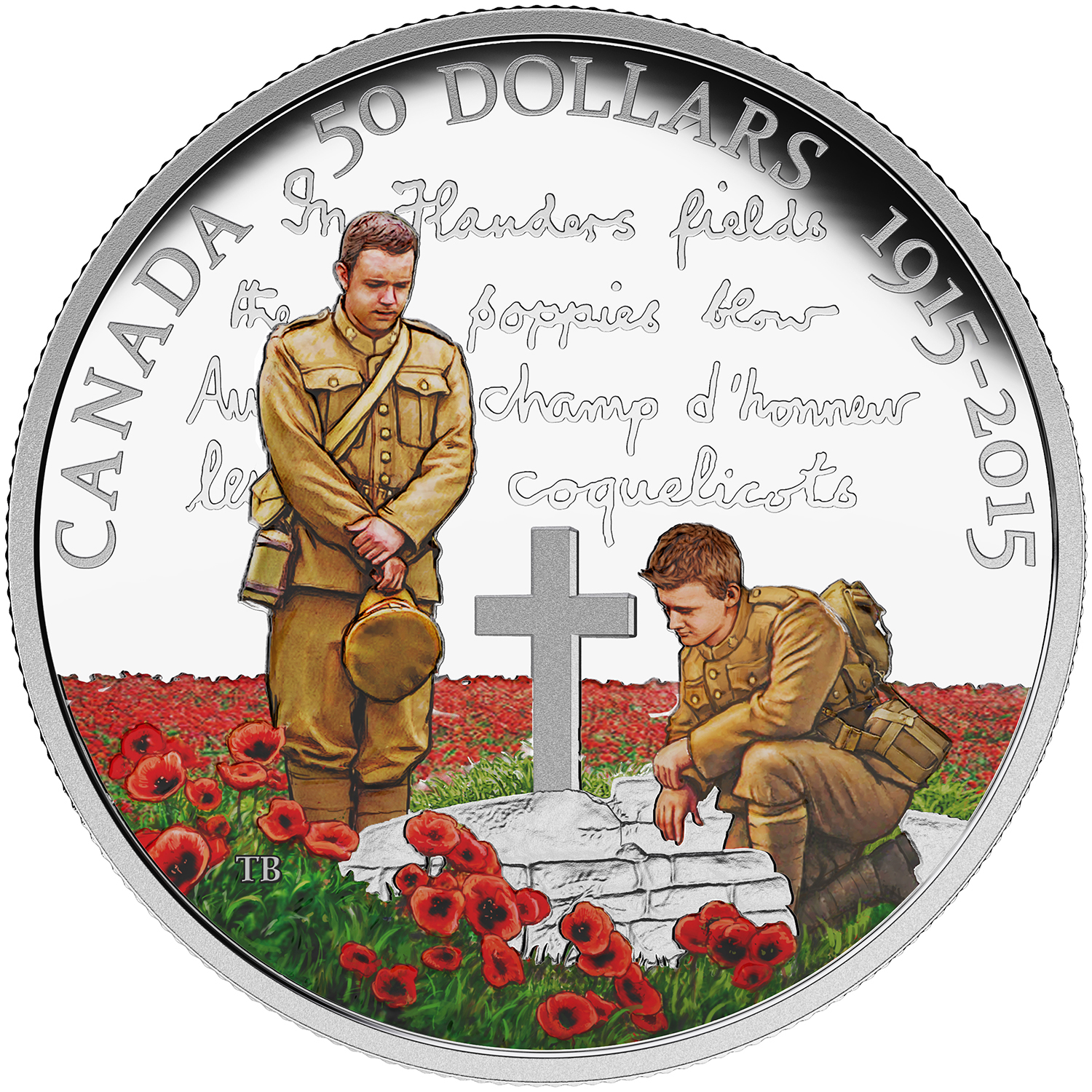 "2015 Canada $50 Proof Silver 100th Anniv of ""In Flanders Fields"""