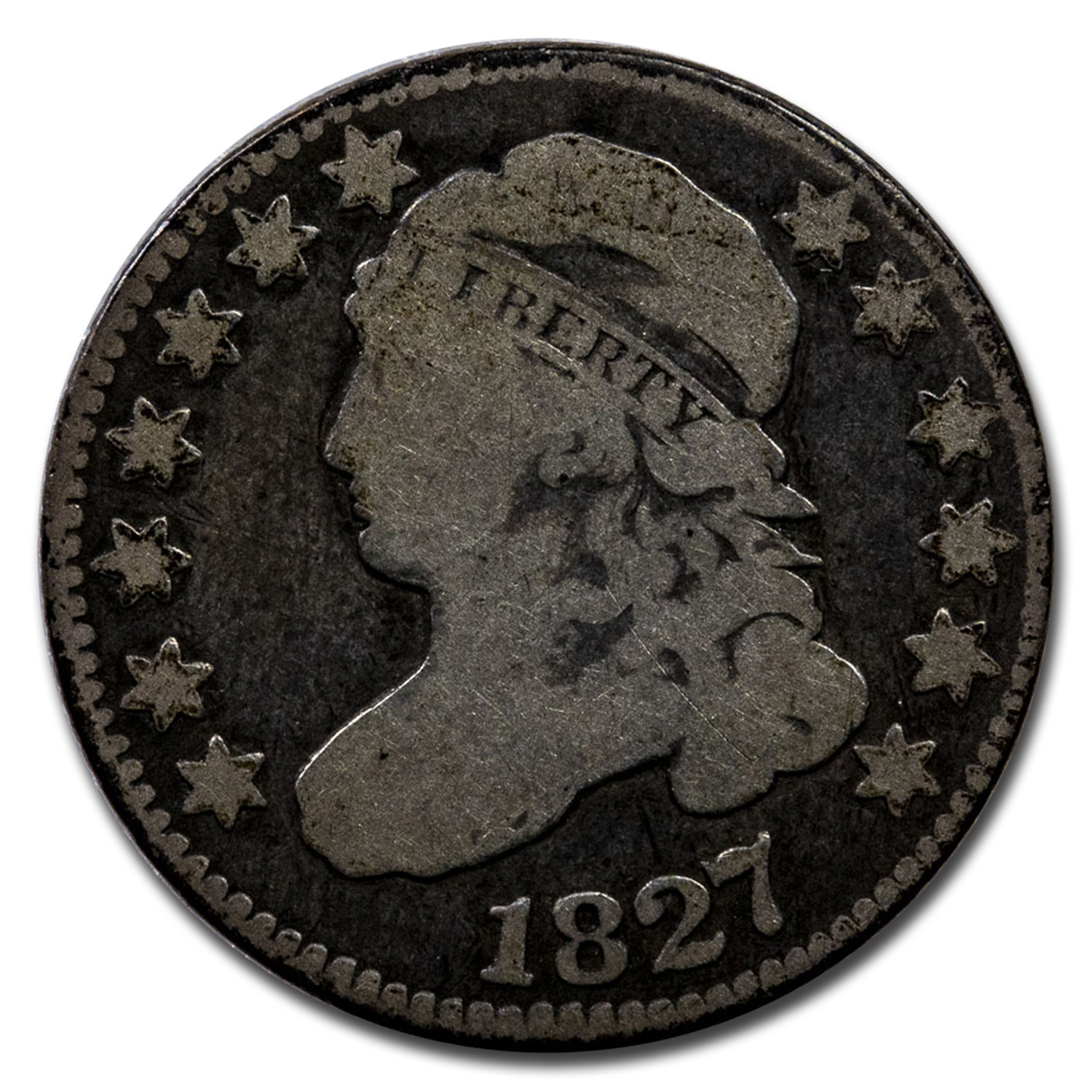 1827 Capped Bust Dime Fine