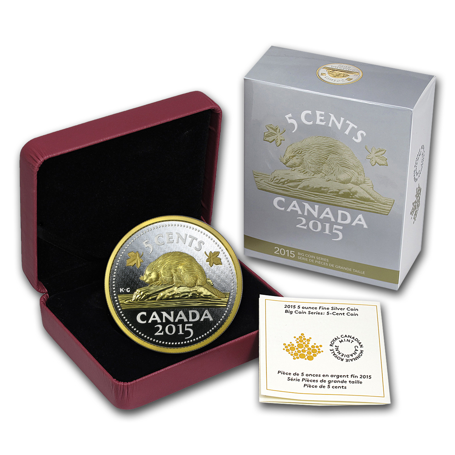 2015 Canada 5 oz Proof Silver Big Coin Series (5 Cent Coin)