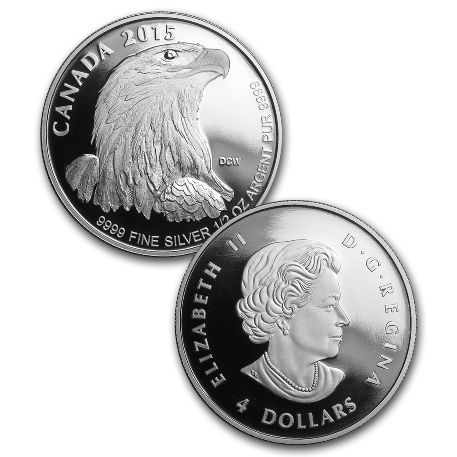 2015 Canada 4-Coin Proof Silver Bald Eagle Fractional Set