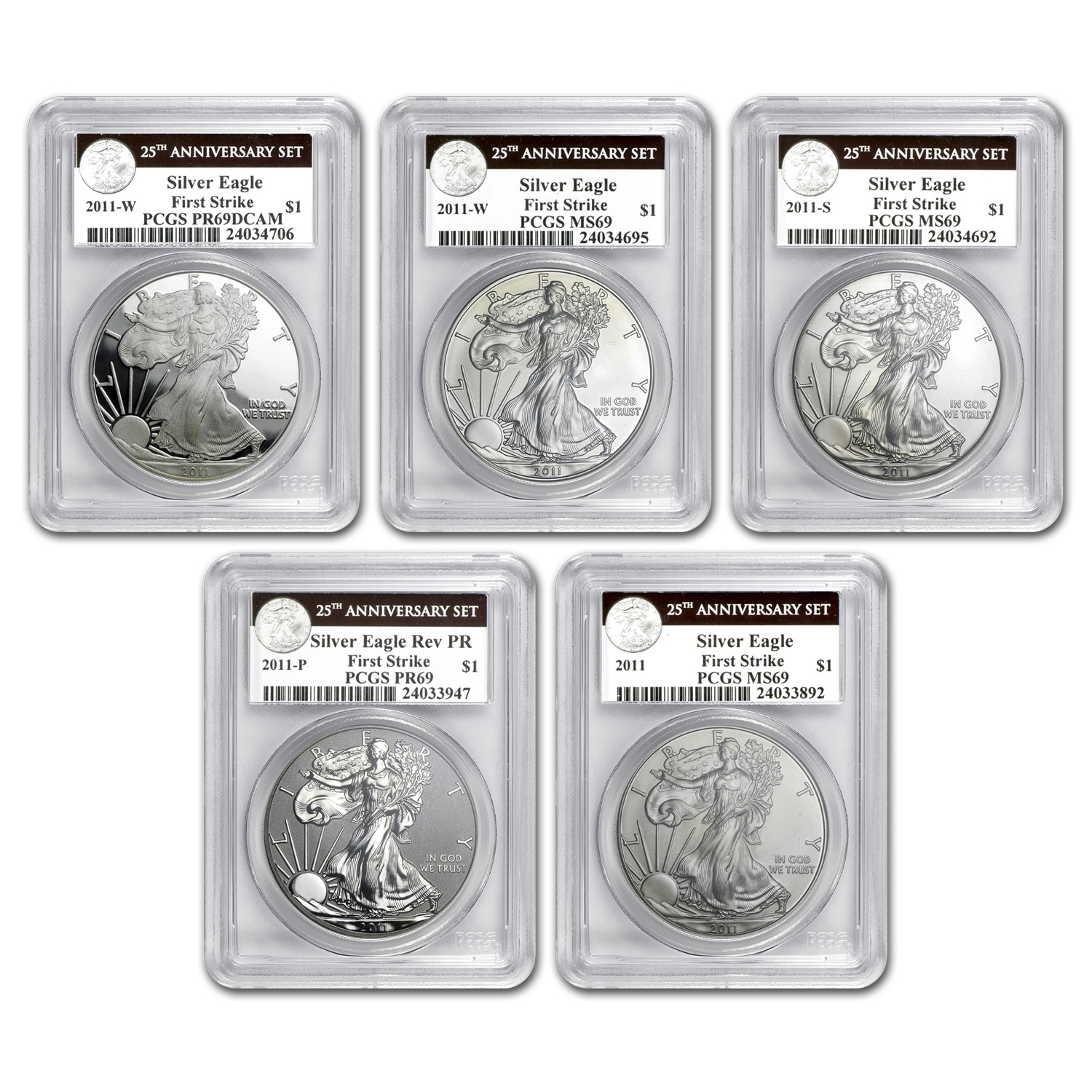 2011 5-Coin Silver Eagle Set MS/PR-69 PCGS (FS, 25th Ann. Label)
