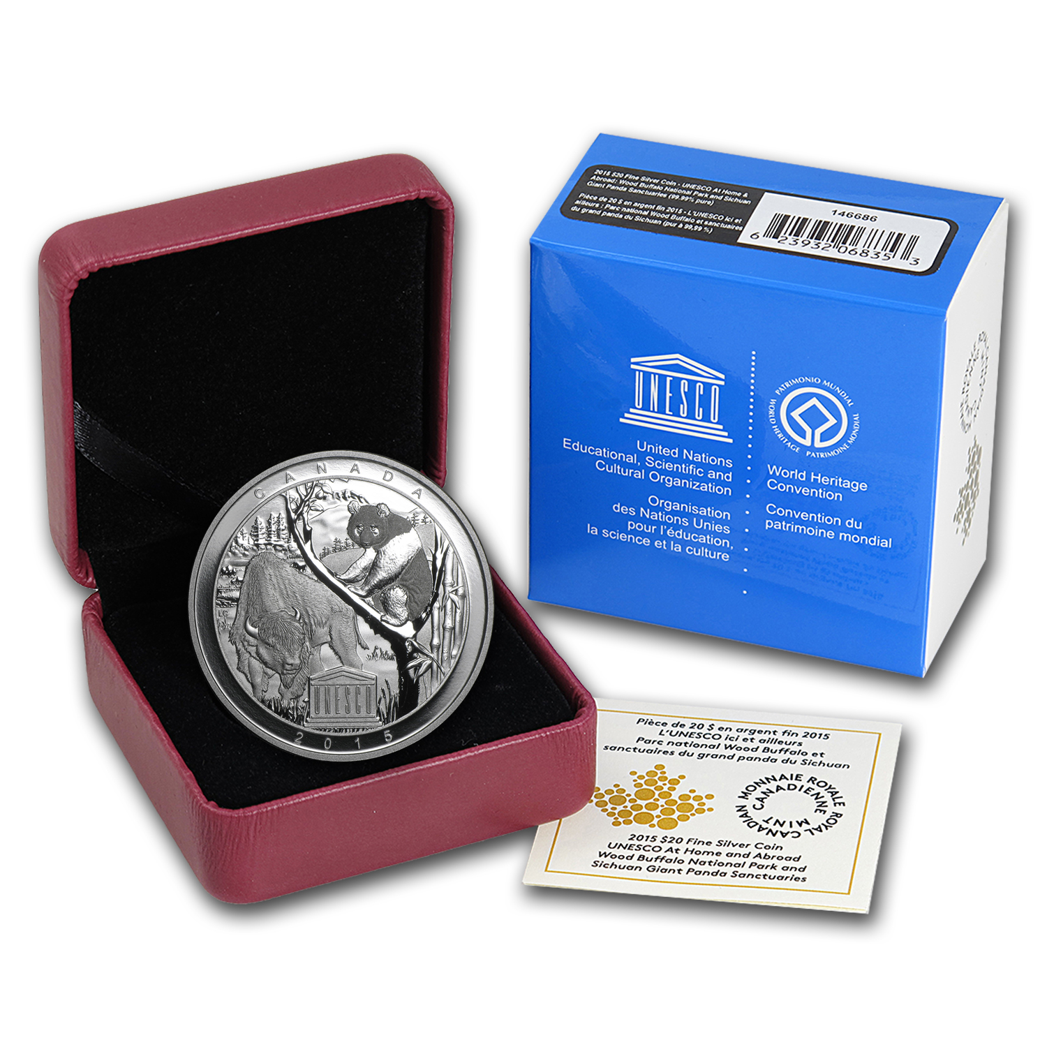 2015 Canada Silver $20 Proof UNESCO Buffalo & Panda Sanctuaries