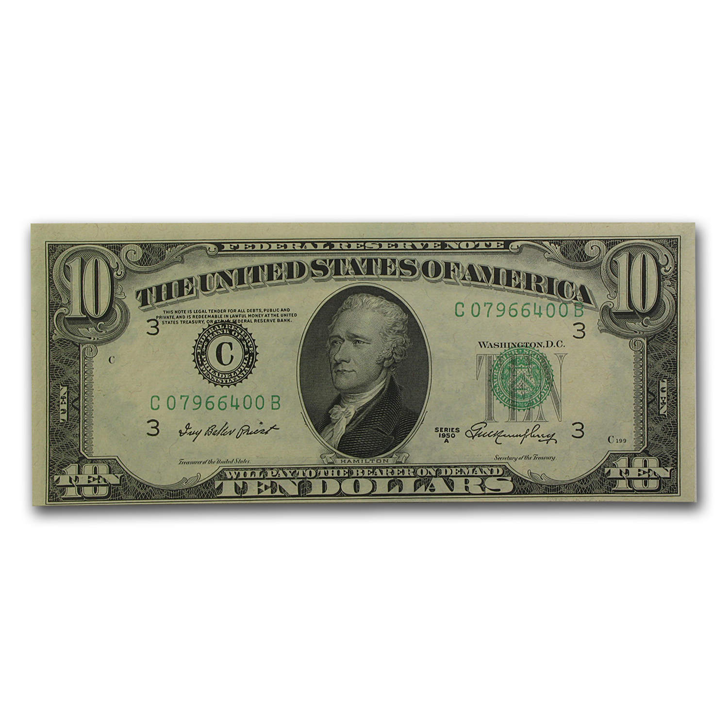 1950-A (G-Chicago) $10 FRN AU (Ink Smear Error)