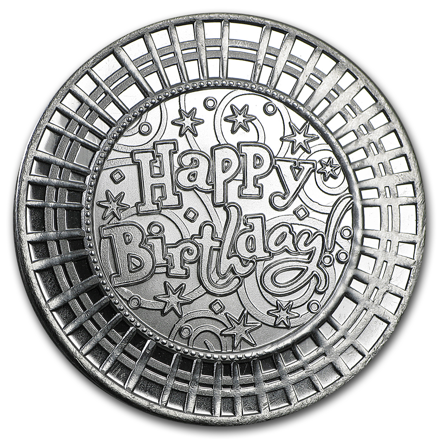 1 oz Silver Rnd - Happy Birthday Mosaic