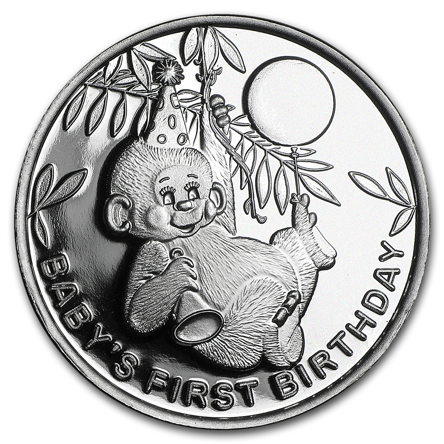 1 oz Silver Round - Baby's First Birthday Monkey
