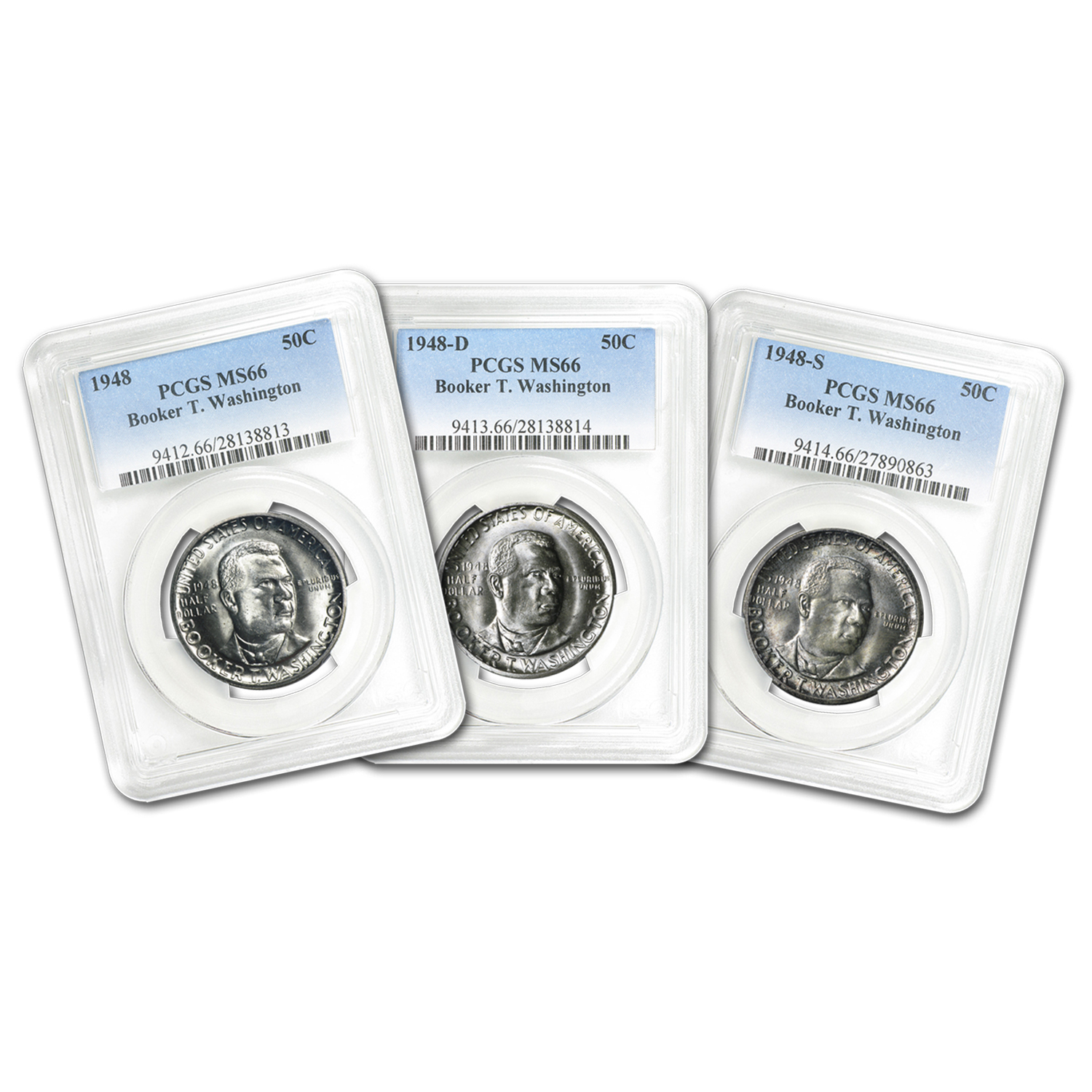 1948-P-D-S Booker T. Washington Half Dollar Set MS-66 PCGS