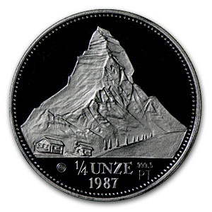 1987 Switzerland 1/4 oz Proof Platinum Matterhorn