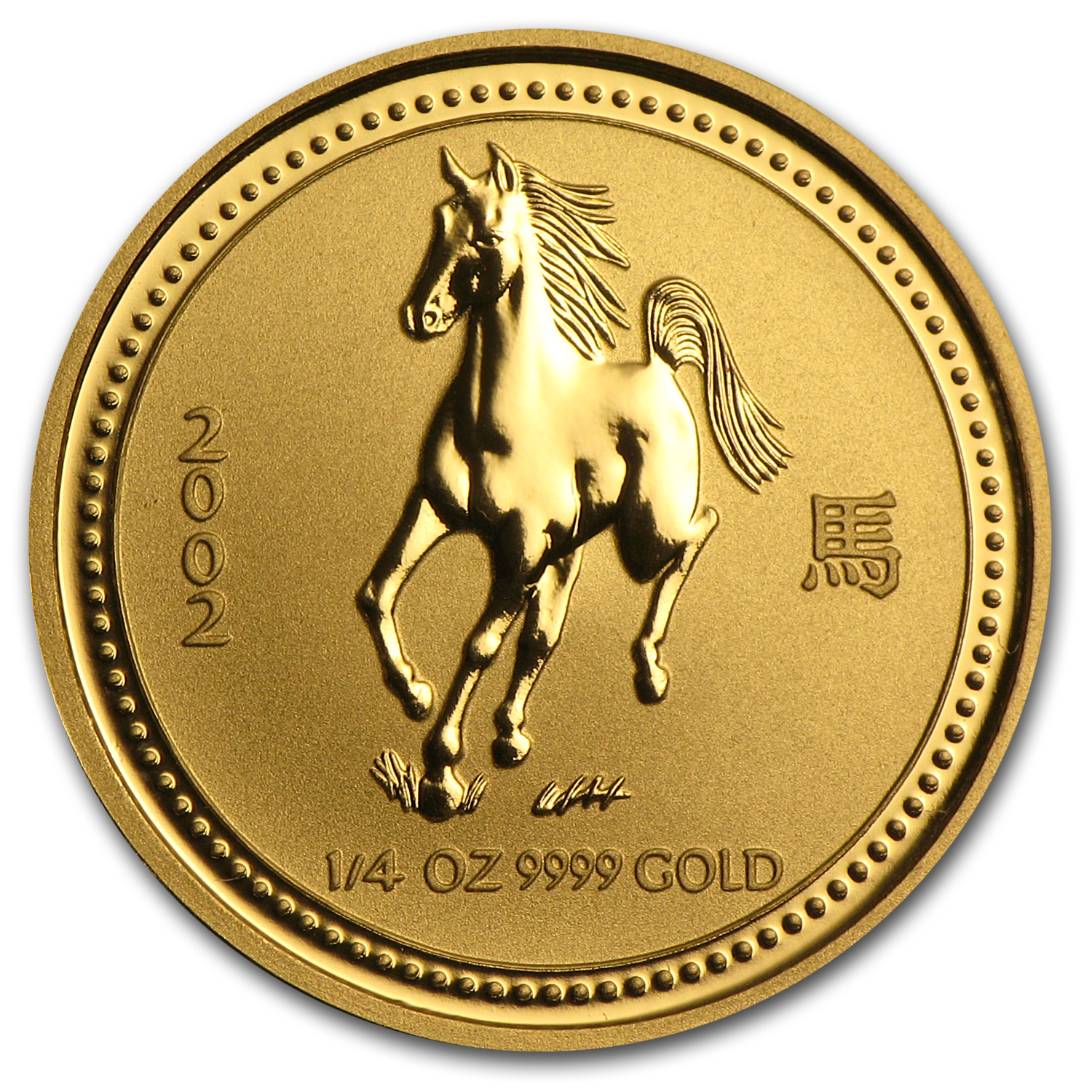 2002 1/4 oz Gold Lunar Year of the Horse BU (Series I)
