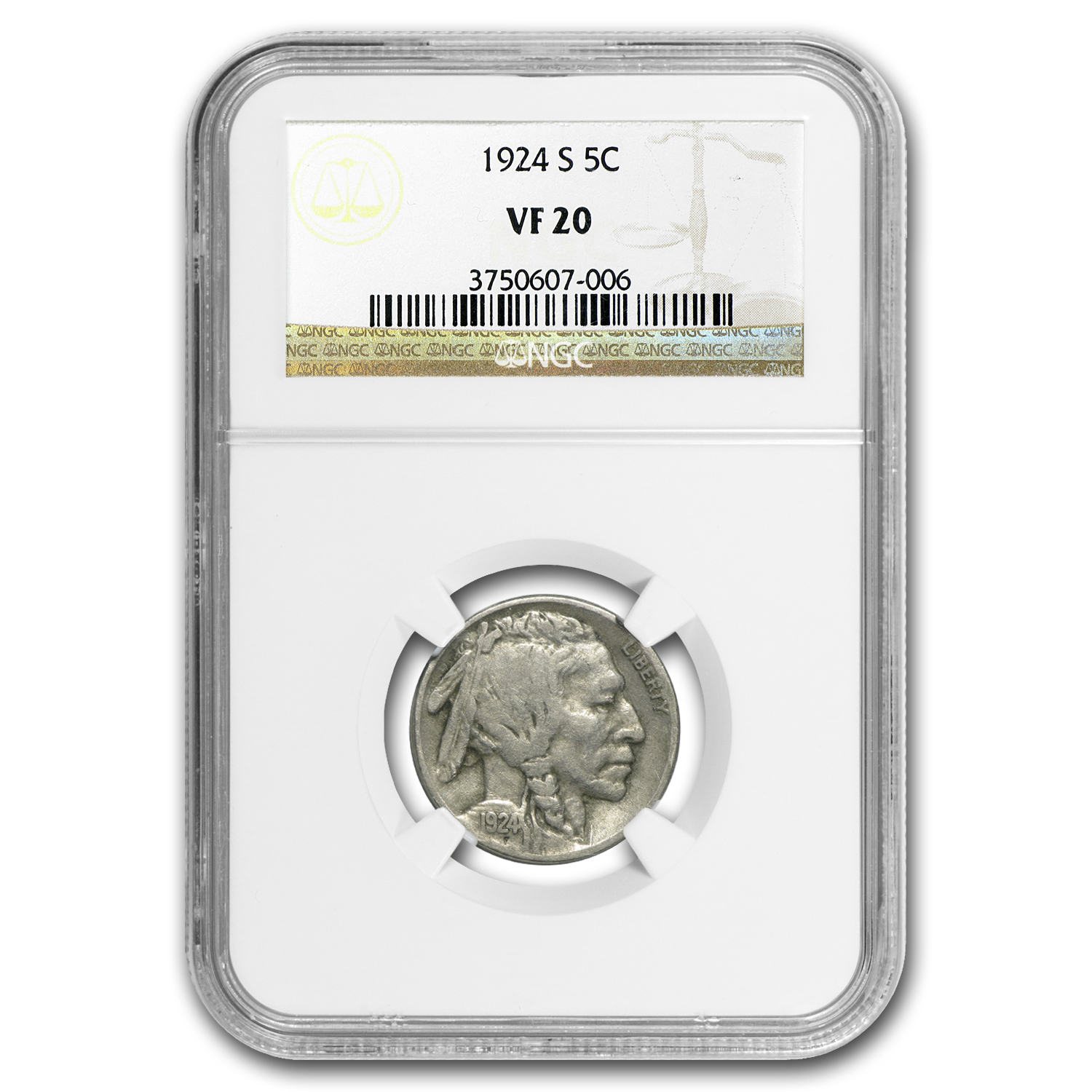 1924-S Buffalo Nickel VF-20 NGC
