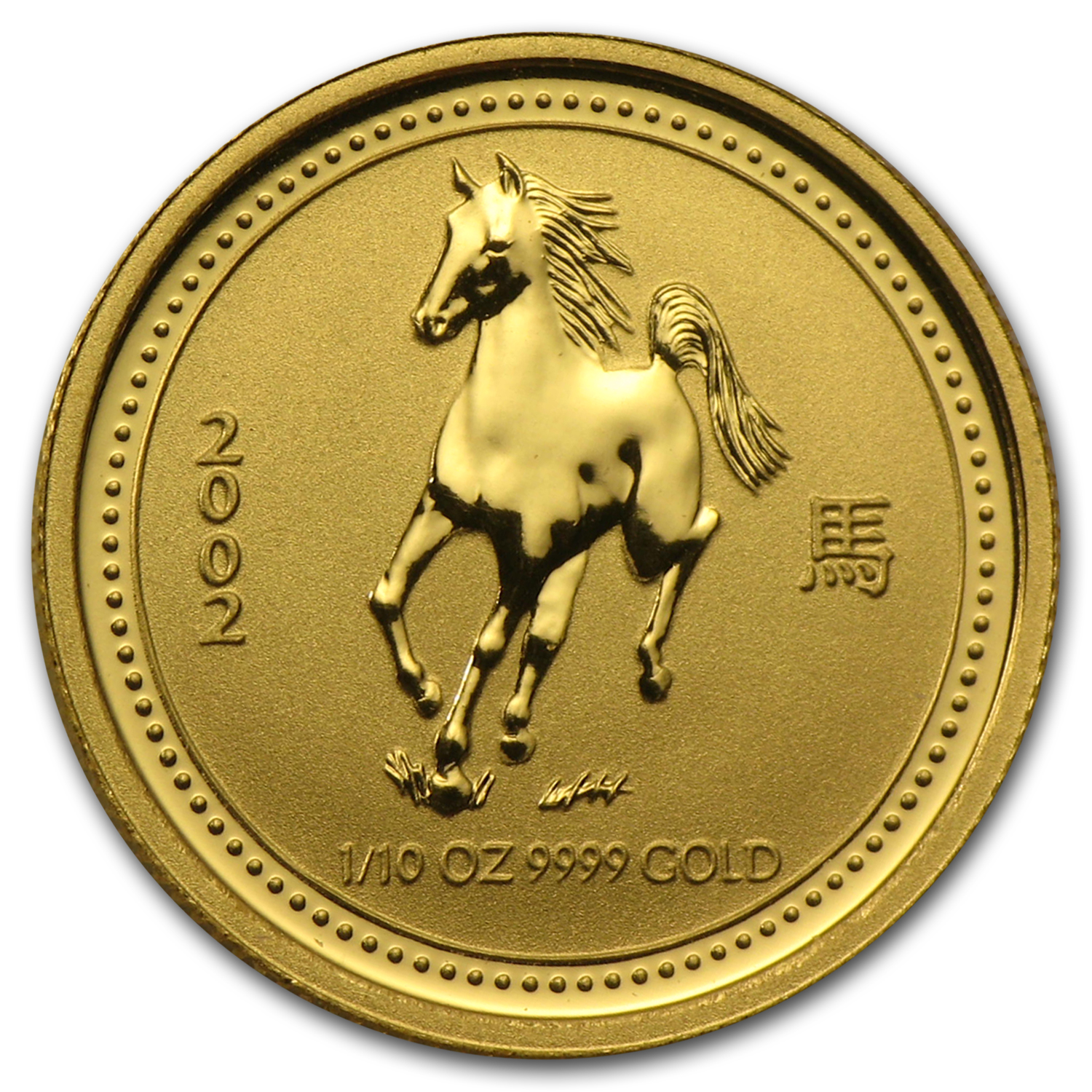 2002 1/10 oz Gold Lunar Year of the Horse BU (Series I)