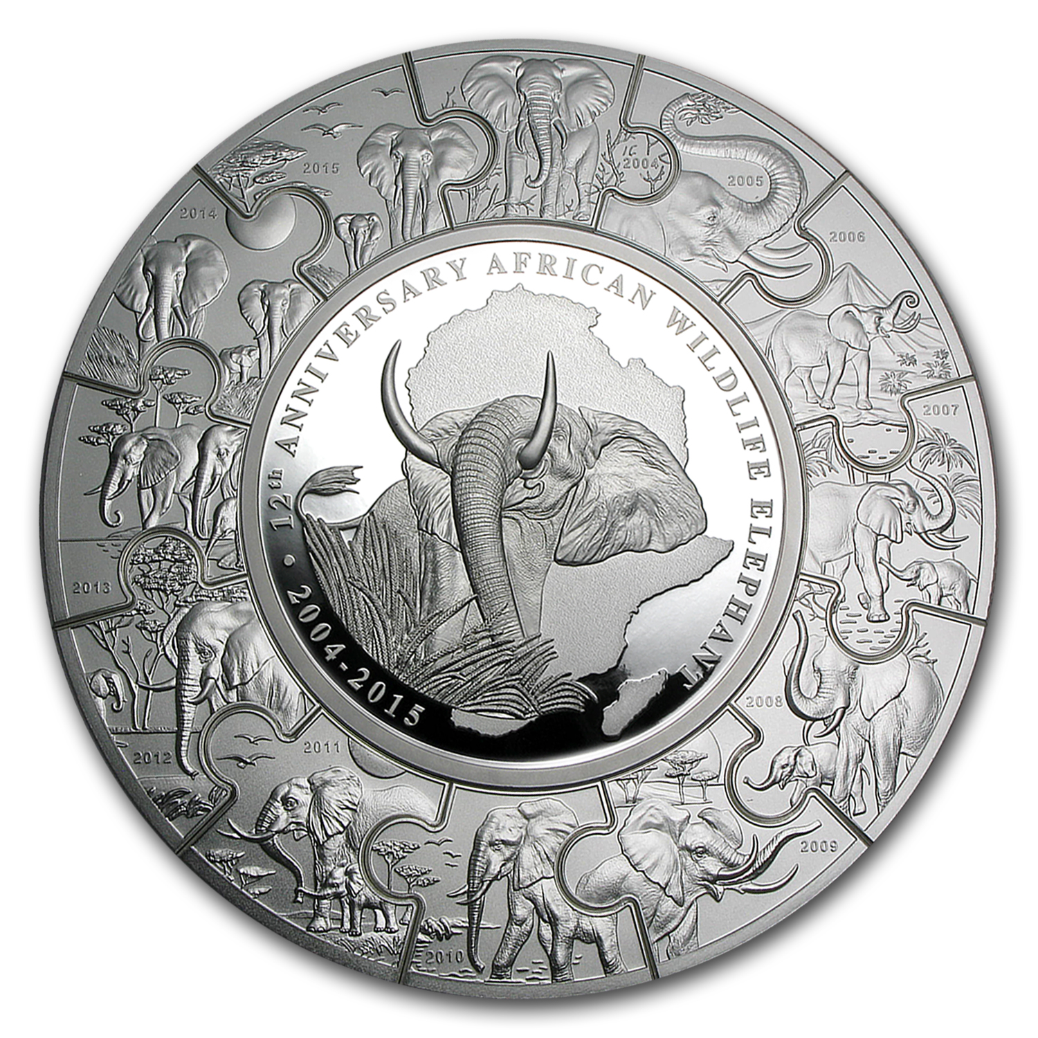 2015 Somalia 1 Kilo Silver Elephant Puzzle Coin Gold And