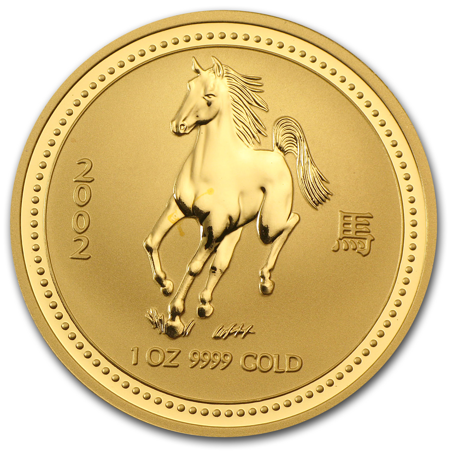 2002 1 oz Gold Lunar Year of the Horse BU (Series I)