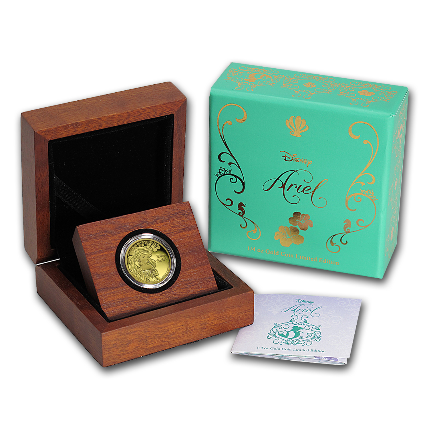 2015 Niue 1/4 oz Proof Gold $25 Disney Princess Ariel