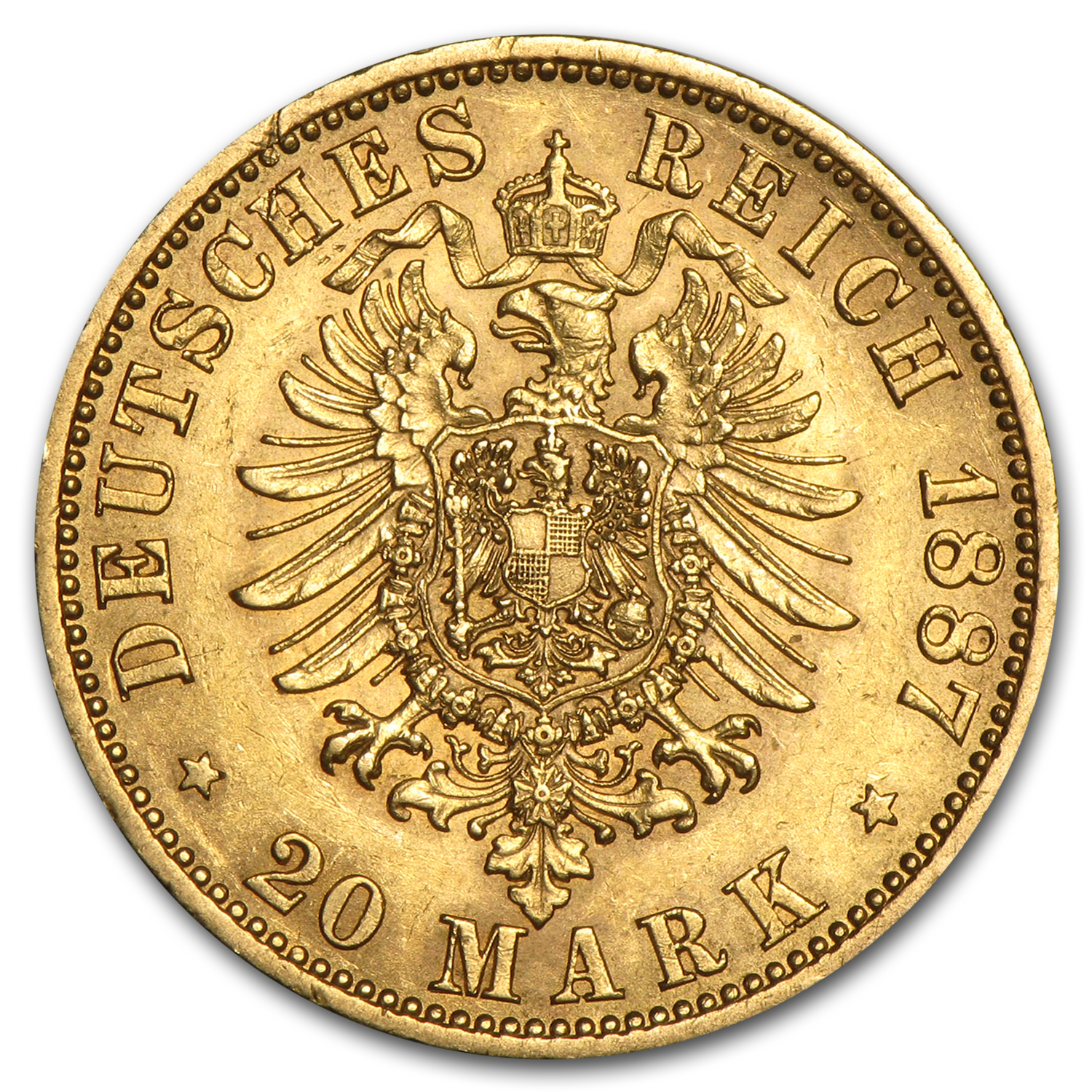 1871-1888 Germany Gold 20 Marks Prussia William I AU