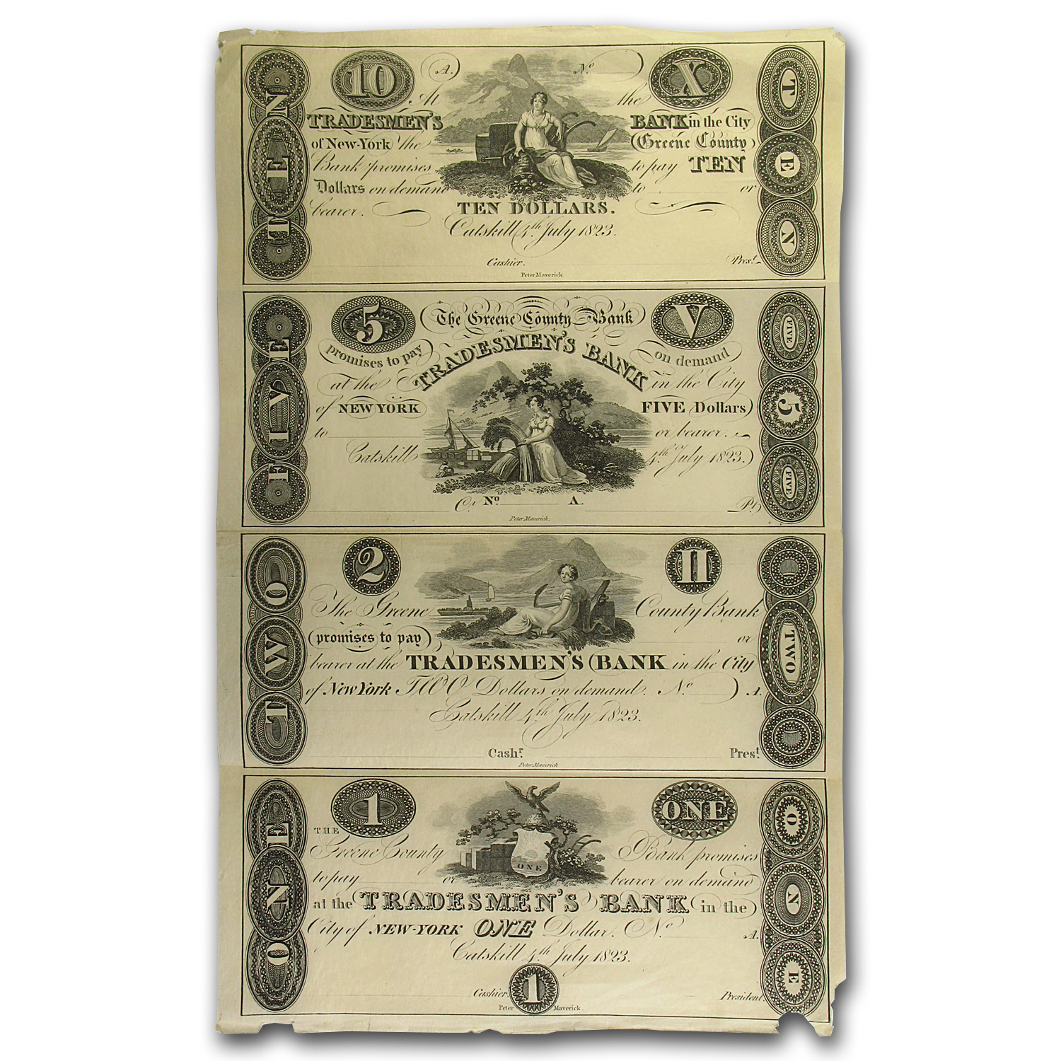 1823 Greene Co. Bank, Catskill, NY (Proof Sheet)
