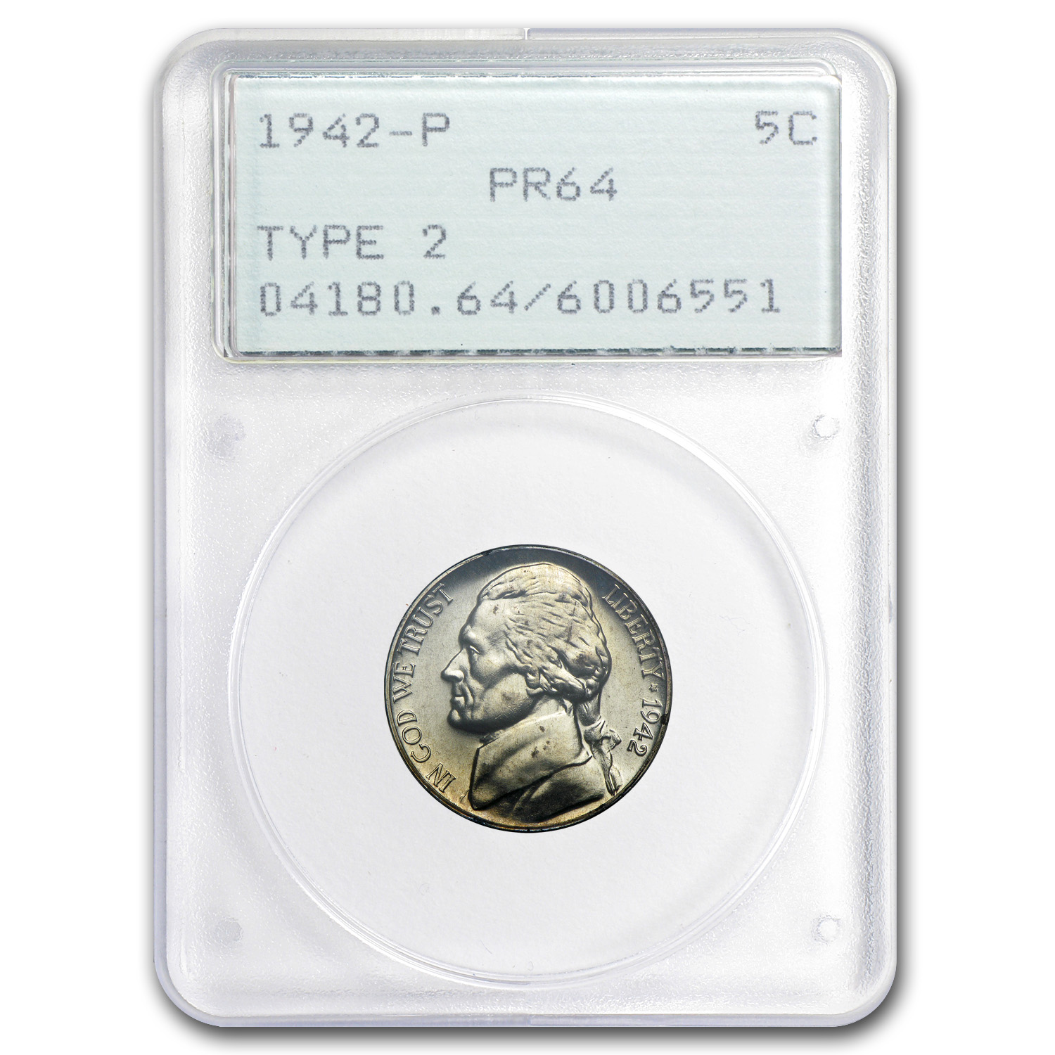 1942-P Silver Jefferson Nickel Type-II Proof-64 PCGS