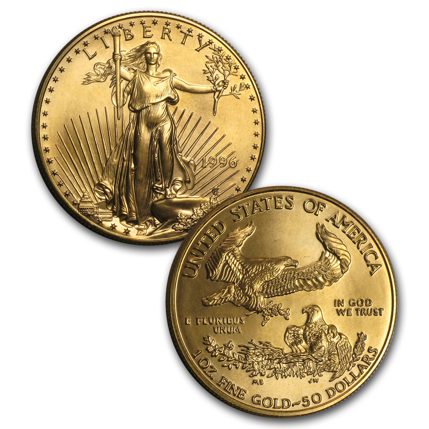 1996 5-Coin Gold & Silver American Eagle Set BU