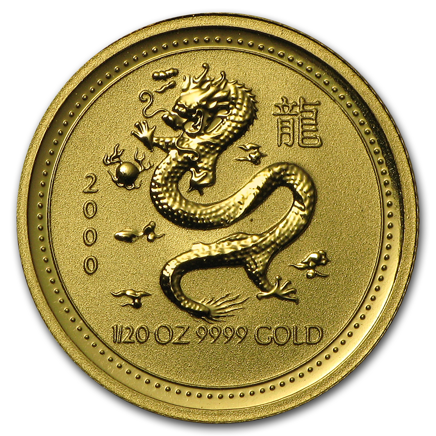 2000 1/20 oz Gold Lunar Year of the Dragon BU (Series I)
