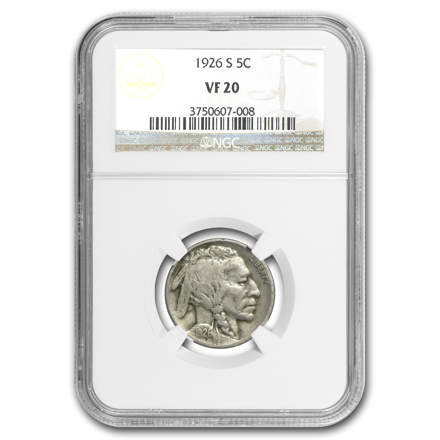 1926-S Buffalo Nickel VF-20 NGC
