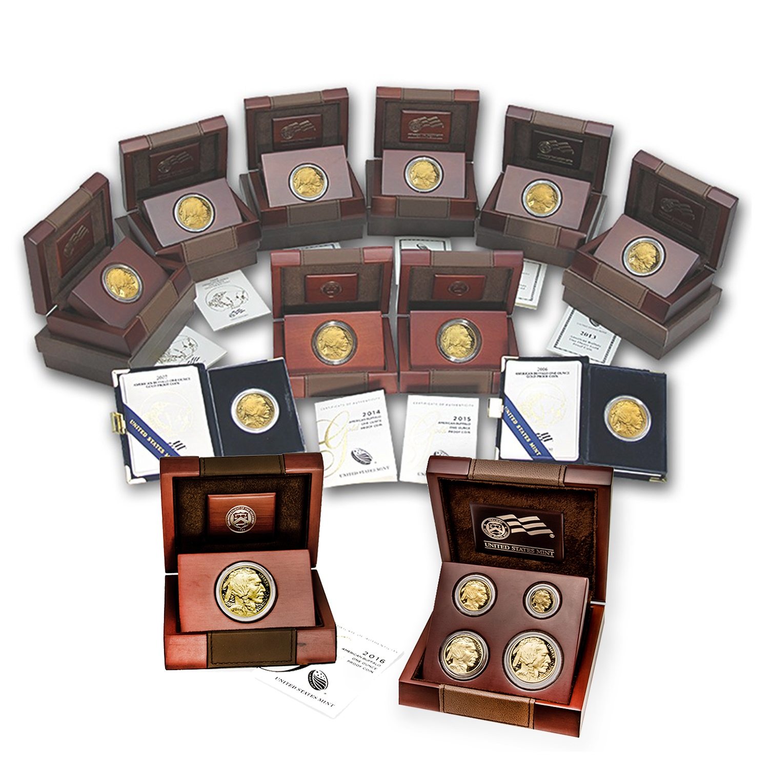 2006-2016 15-Coin Complete Proof Gold Buffalo Set (w/Box & COA)
