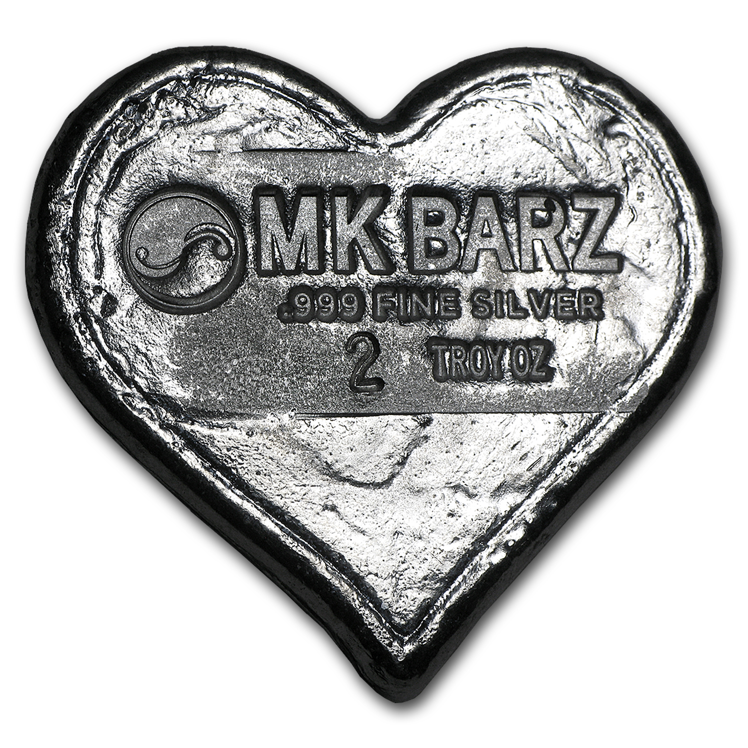 2 oz Silver Heart - MK Barz & Bullion