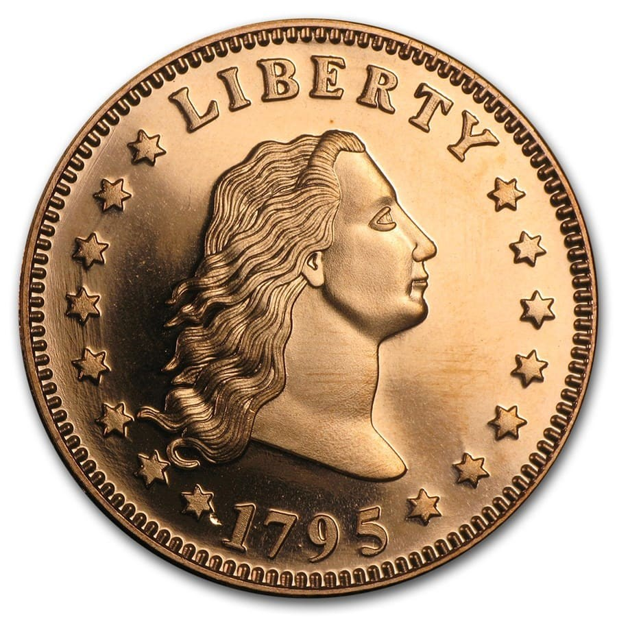 1 Oz Copper Round Flowing Hair Dollar Golden State