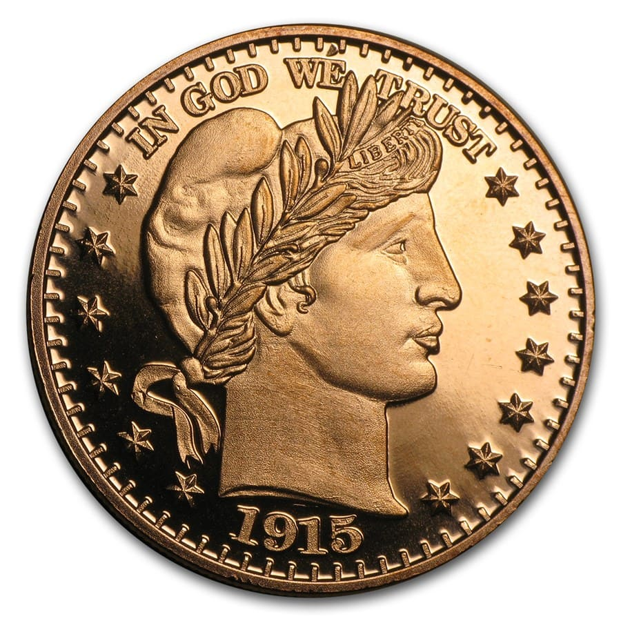 1 oz Copper Round - Barber Half Dollar