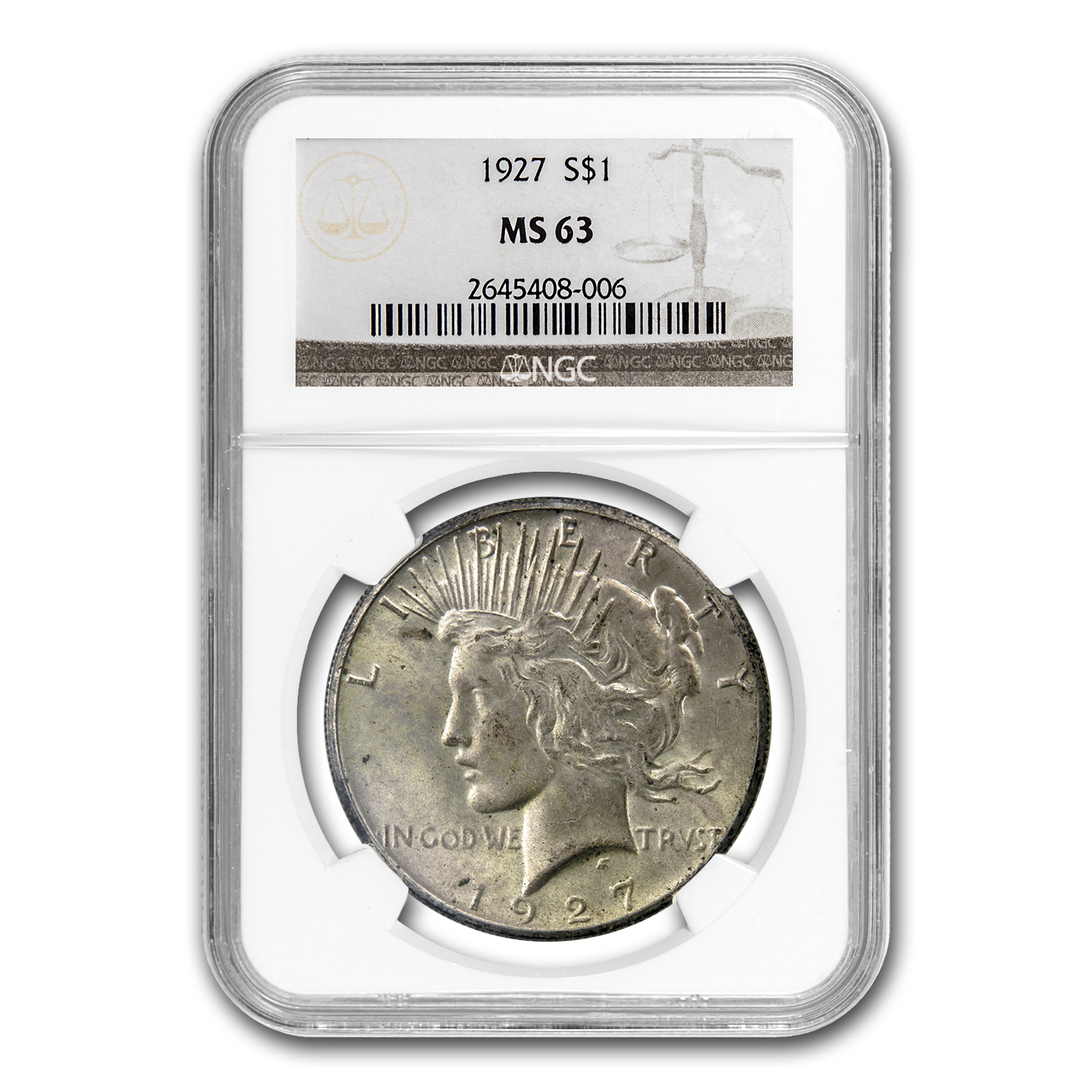 1927 Peace Dollar MS-63 NGC (Toned)