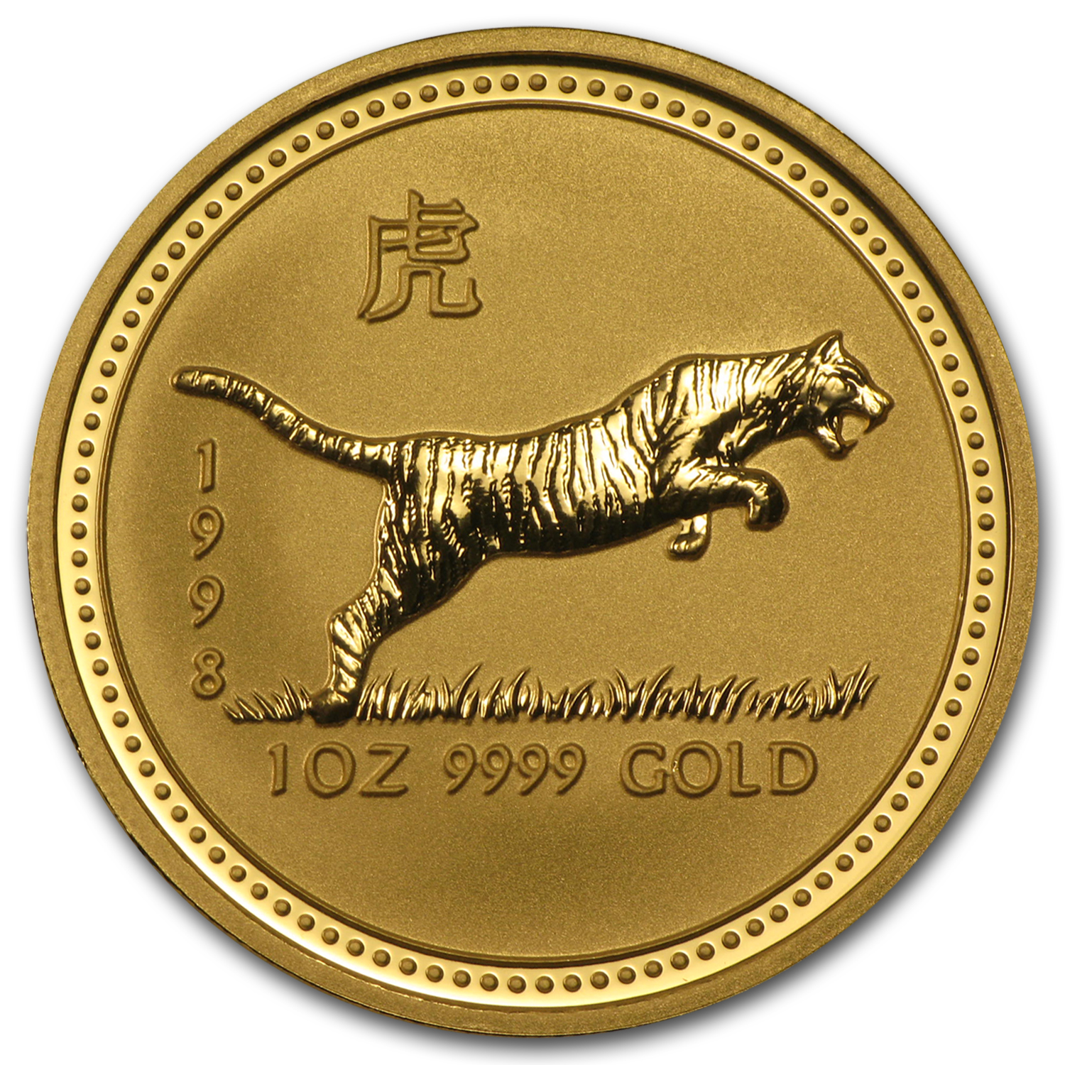 1998 Australia 1 oz Gold Lunar Tiger BU (Series I)
